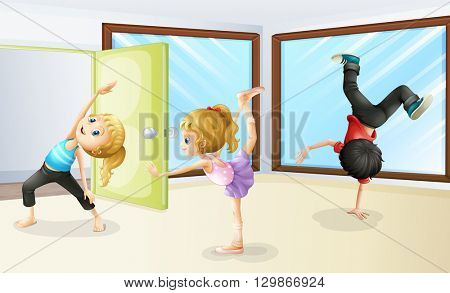 Three kids stretching and dancing illustration
