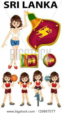 Sri Lanka flag and woman athlete illustration