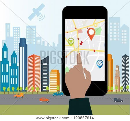 Smartphone navigation app and gps concept.Smart-phone navigation on the screen with roag sign.Smart city design