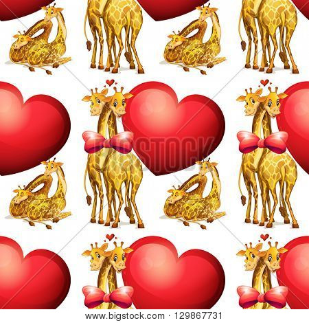 Seamless giraffes with giant hearts illustration