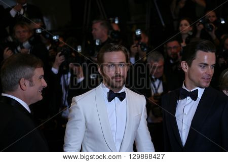 Ryan Gosling,  Matt Bomer attend 'The Nice Guys' premiere during the 69th annual Cannes Film Festival at the Palais des Festivals on May 15, 2016 in Cannes, France.