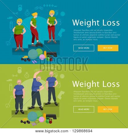 before and after weight loss old senior concept fitness vector illustration