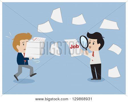 Job description concept, magnifying glass inspect work.