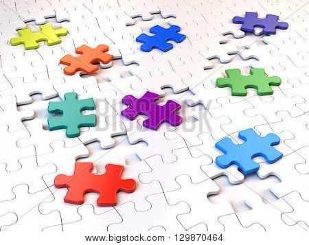 Colorful puzzle pieces. 3d render