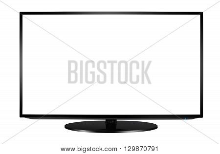 Modern blank flat screen TV set isolated on white background.
