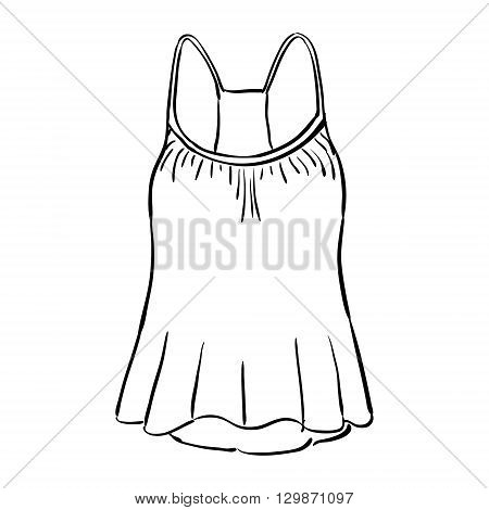 Racerback tank top sketch isolated on white background. Vector illustration.