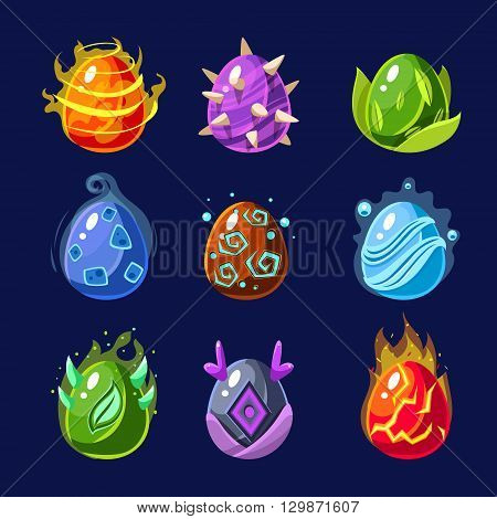 Flash Game Power Elements Set Of Flat Bright Color Cool Fantastic Design Vector Icons Isolated On Dark Background