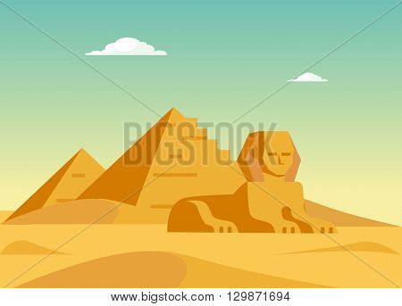 Pyramids And Sphynx Flat Bright Color Simplified Vector Illustration In Realistic Cartoon Style Design