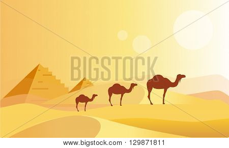 Camel Caravan And Pyramides Flat Bright Color Simplified Vector Illustration In Realistic Cartoon Style Design