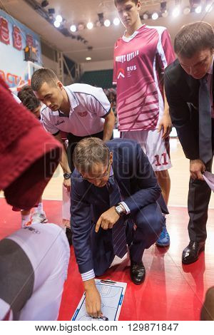 Bc Krasnye Krylia Head Coach Sergey Bazarevich During A Timeout