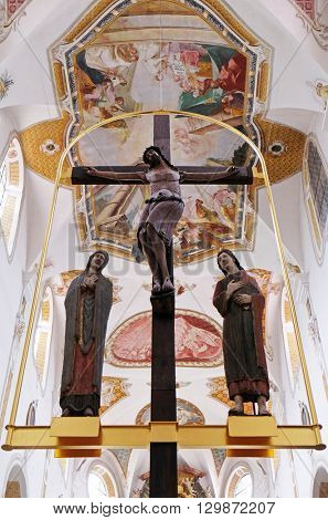 URSBERG, GERMANY - JUNE 09: Virgin Mary and Saint John under the cross in the monastery church of St. John in Ursberg, Germany on June 09, 2016.