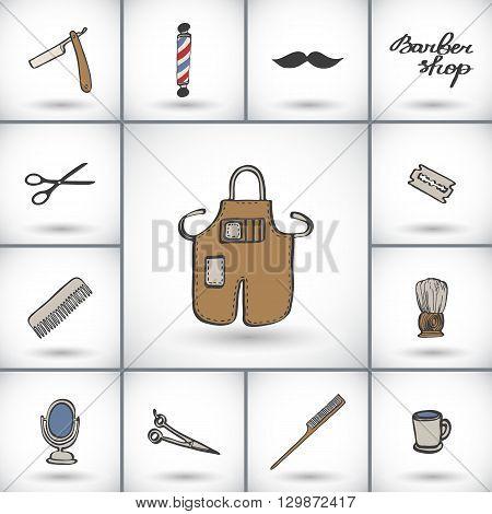 Barber shop icons set. Hand-drawn cartoon hairdressing stuff - razor brush scissors apron, blade, barber pole. Doodle drawing. Vector illustration.