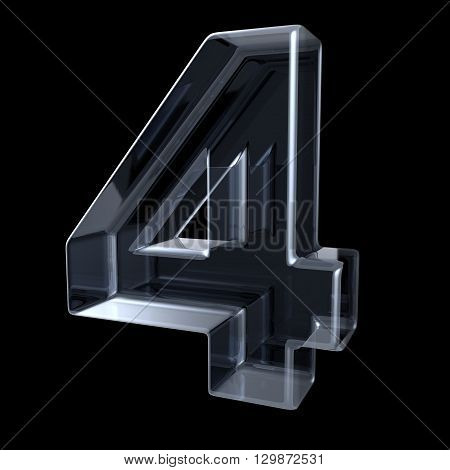Transparent x-ray number 4 FOUR. 3D render illustration on black background