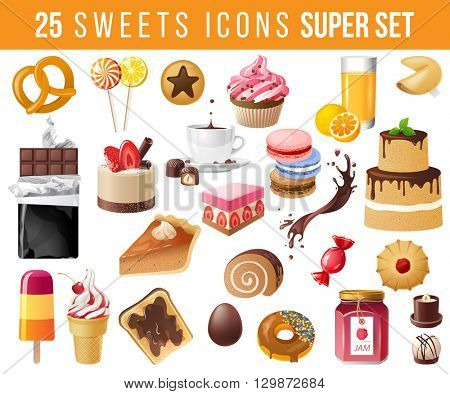 25 highly detailed sweets icons set
