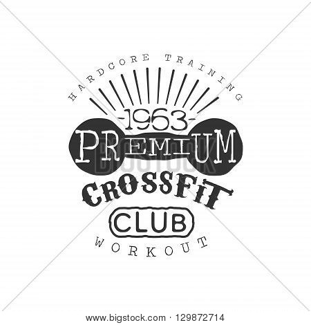 Vintage Gym Fitness Stamp Collection Of Monochrome Vector Design Label On White Background