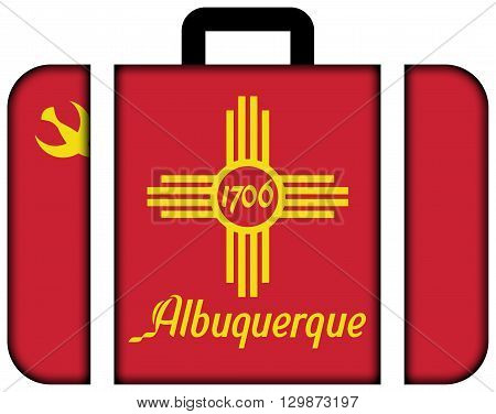Flag Of Albuquerque, New Mexico. Suitcase Icon, Travel And Transportation Concept