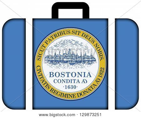 Flag Of Boston, Massachusetts. Suitcase Icon, Travel And Transportation Concept