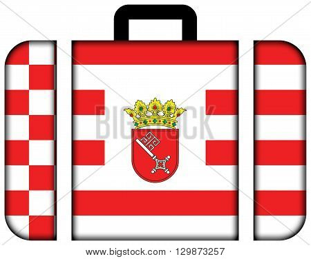 Flag Of Bremen With Coat Of Arms. Suitcase Icon, Travel And Transportation Concept