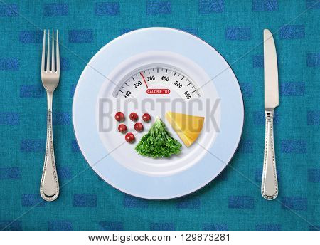 view of calorie tot in food that on white plate