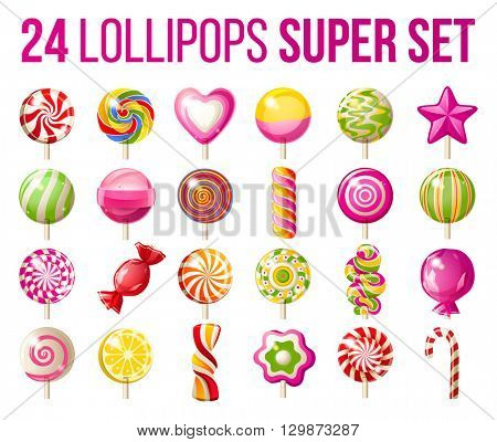 24 bright lollipops icons over white background - super set of lollipops