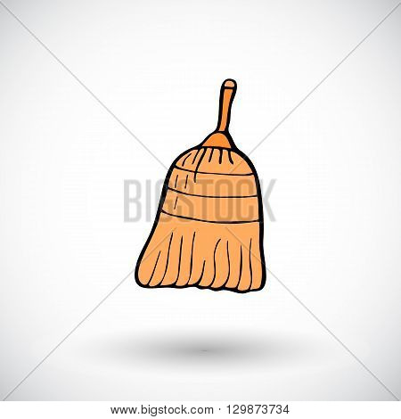 Broom sketch. Hand-drawn cartoon cleaning icon. Doodle drawing. Vector illustration.