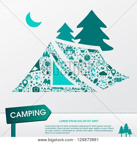 Camping and outdoor nature leisure activity infographic background template layout in tent icon shape used for advertisement create by vector