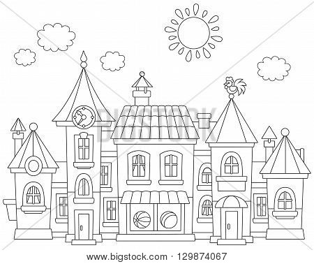 Black and white vector illustration of a toy town