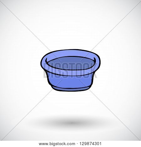 Washbowl sketch. Hand-drawn cartoon cleaning tool icon - bowl. Doodle drawing. Vector illustration.