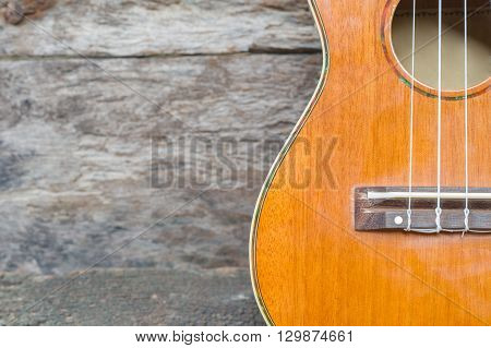 abstract portrait of a ukulele on old wood background