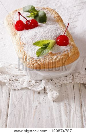 Delicate Austrian Dessert Salzburger Nockerln With Cherries And Mint. Vertical