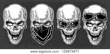 Skull smiling with bandana and glasses for motorcycle on forehead and eyes. Black vintage vector illustration. For poster and tattoo biker club. Hand drawn design element isolated on dark background
