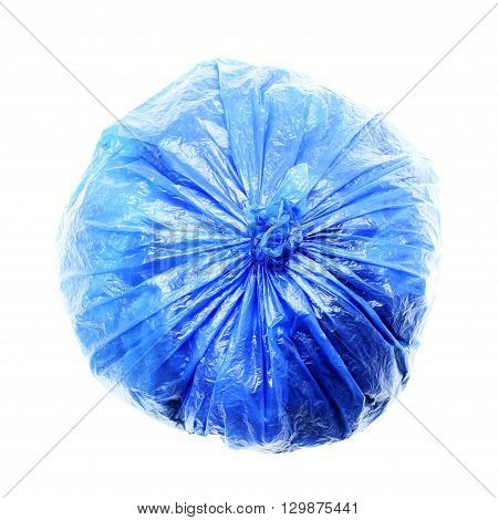 Blue rubbish bag isolated on a white background