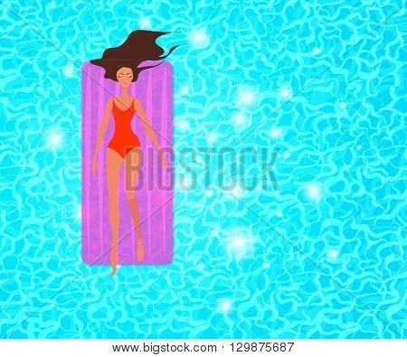 Summer vacation vector illustration.  Woman is swimming in a pool with sparkling blue water. Top view.