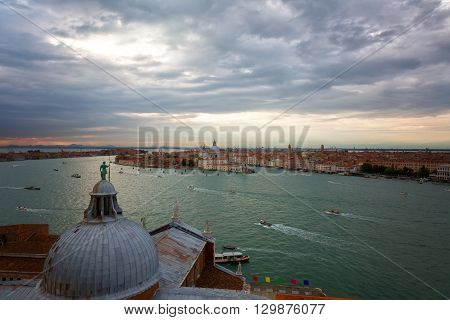 View from San Giorgio Maggiore belltower on Giudecca island on a sunset Venice Italy