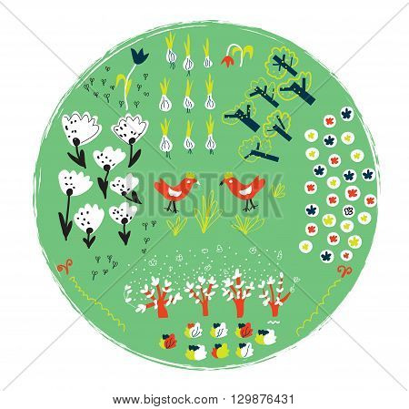 Garden label with funny design for gardening planner. Graphic illustration vector.