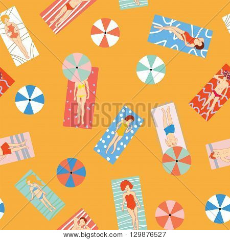 Beach holiday seamless pattern with people on the sun. Vector graphic illustration