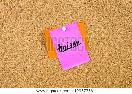 Kaizen Written On Paper Note