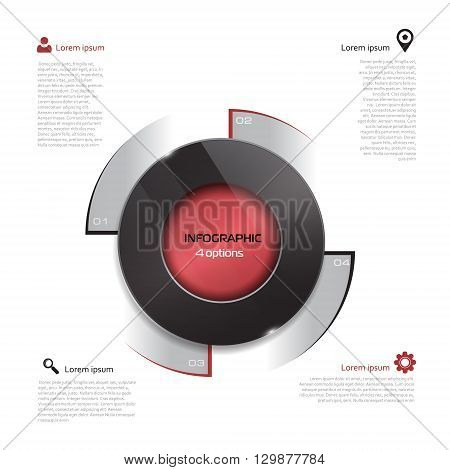 Vector circle elements for infographic. Template for presentation, diagram, graph. Business concept with 4 options, parts, steps or processes. Abstract 3D digital illustration Infographic. black and red elements on white background