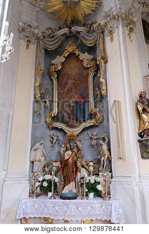 ZIEMETSHAUSEN, GERMANY - JUNE 09: Annunciation of the Virgin Mary, altar in Maria Vesperbild Church in Ziemetshausen, Germany on June 09, 2015.