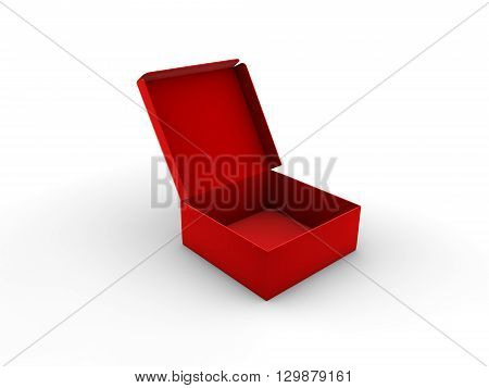 Open empty red box photo isolated on white background. 3D rendering.