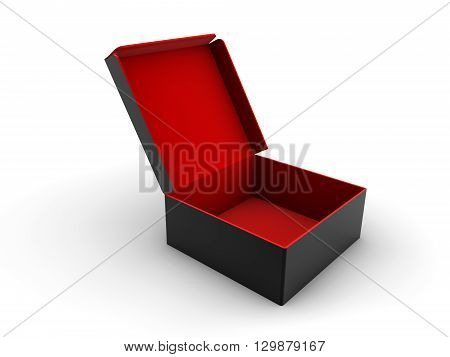 Open empty red and black box photo isolated on white background. 3D rendering.