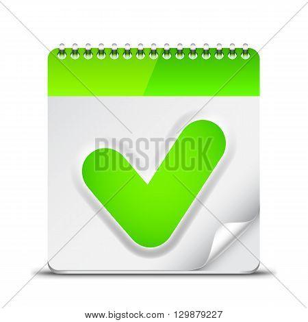Calendar icon with green check mark symbol