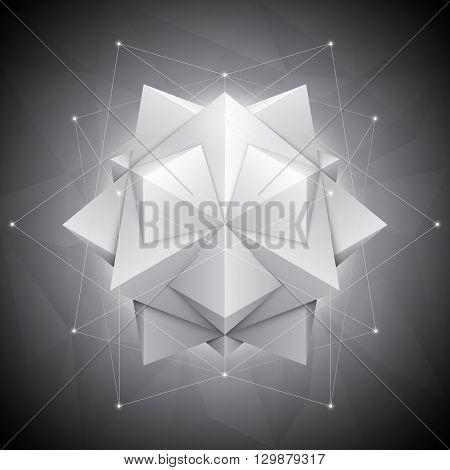 Three-dimensional polygonal shape on dark geometric background