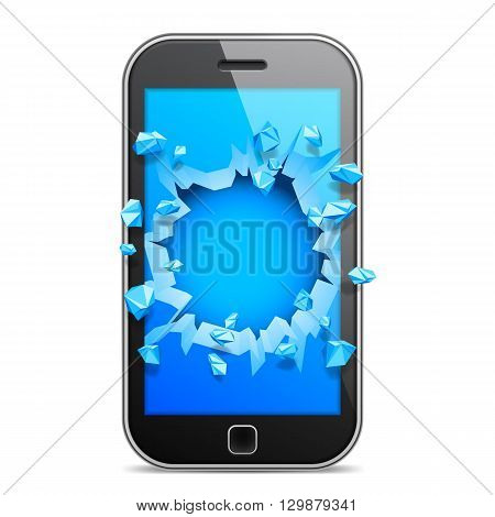 Black mobile phone with broken blue screen