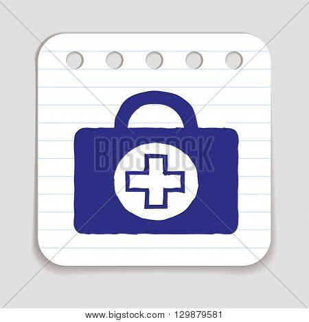Doodle Doctors Bag icon. Hand drawn doodle with flowers and letters. Blue pen on notepad page. Shopping, price reduction, season advertising label. Vector illustration.