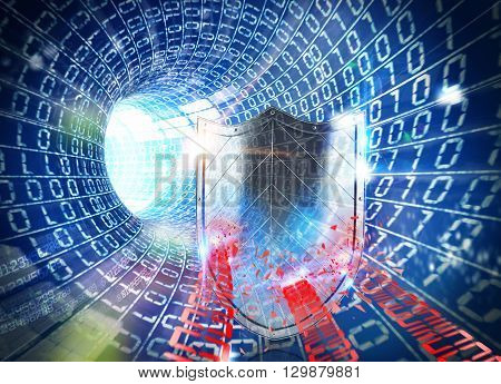 3D rendering of blue tunnel with shield