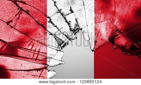 Flag of Peru, Peruvian Flag painted on broken glass
