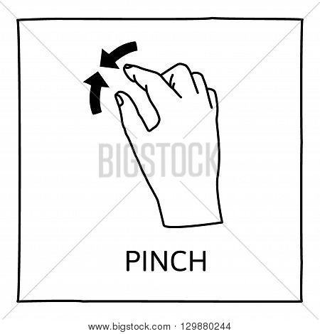 Doodle gesture icon. Pinch resize. Touch screen hand finger gestures. Hand drawn. Isolated on white. Vector illustration.