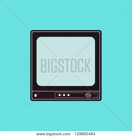 Vector flat illustration of an old TV set. Vector element for logo infographics and your design