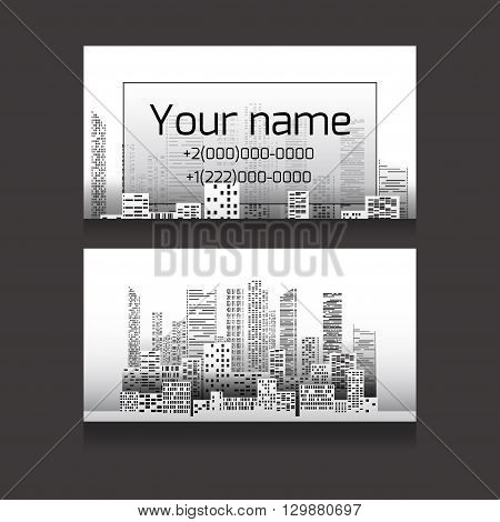 Template two-sided business card with skyscrapers and place for text. Business card for realtors architects builders
